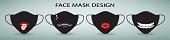 Protective face mask design. Set of 4 cartoon medical masks with print.
