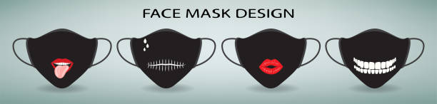 Protective face mask design. Set of 4 cartoon medical masks with print. Lips with tongue, teeth, mouth sewn on a black background. Protective measures against coronavirus and flu. Fashionable trendy accessories of a modern person. halloween covid stock illustrations