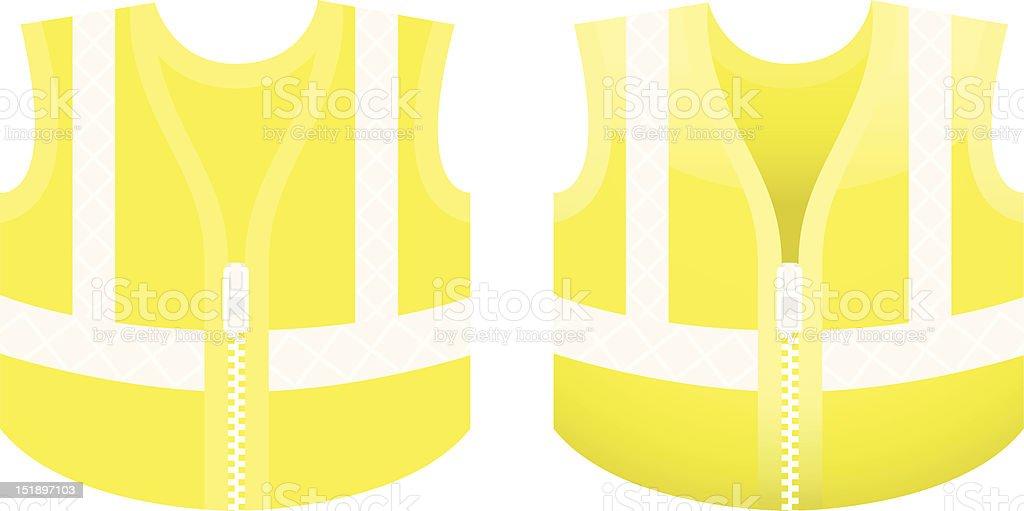 Protective fluorescent yellow vest vector art illustration