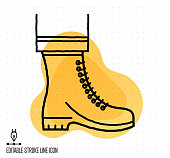 Hand drawn doodle icon for protective gear to use as vector design element. Minimalistic symbol made in the style of editable line illustration.