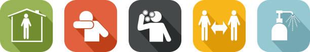 ilustrações de stock, clip art, desenhos animados e ícones de protective gestures against coronavirus - gesticular