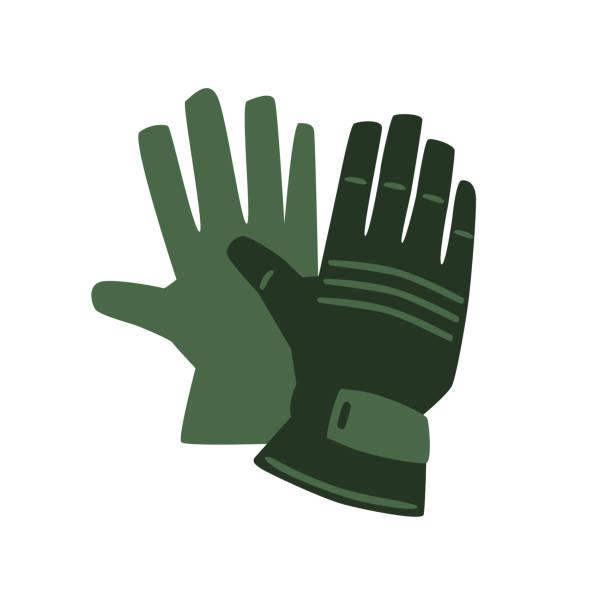 tragen von schutzhandschuhen. vektor-symbol-illustration, isoliert auf weißem hintergrund. - schutzhandschuhe stock-grafiken, -clipart, -cartoons und -symbole