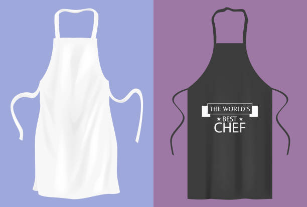 Protective kitchen apron  for cooking or baker Protective kitchen apron  for cooking or baker apron isolated stock illustrations