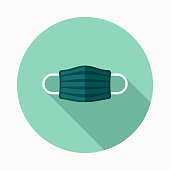 A pastel colored flat design dental care icon with a long side shadow. Color swatches are global so it's easy to edit and change the colors.