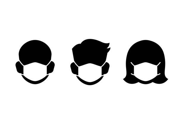 保護マスクアイコン - マスク点のイラスト素材/クリップアート素材/マンガ素材/アイコン素材
