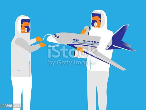 istock Protective mask on plane 1286810971