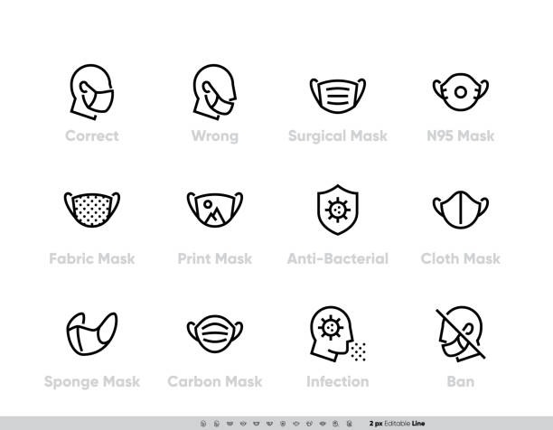 ilustrações de stock, clip art, desenhos animados e ícones de protective medical face mask icon set. safety breathing masks surgical, flu virus epidemic prevention, industrial safety n95, respirator, fabric, sponge and ban without mask rules for hospital website use. editable stroke line vector - máscaras