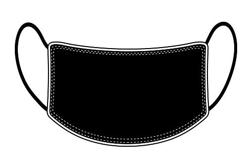 Protective medical mask isolated. black face mask illustration on white background. Medical mask information banner