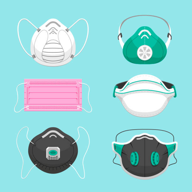Protective medical masks flat vector illustrations set vector art illustration