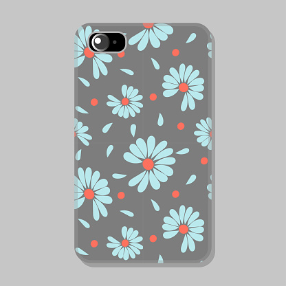 Protective mobile phone case with romantic background in pastel trendy colors. Chamomile flowers, petals. Vector illustration.