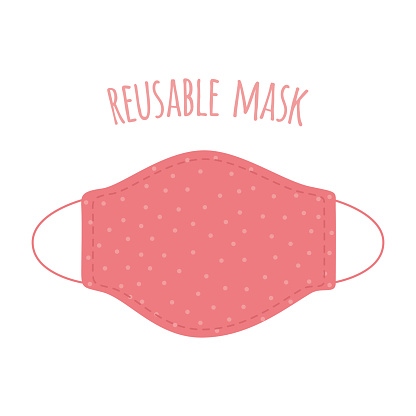 Protective reusable face mask. Protection against viruses and bacterias. Symbol of protection against the flu.