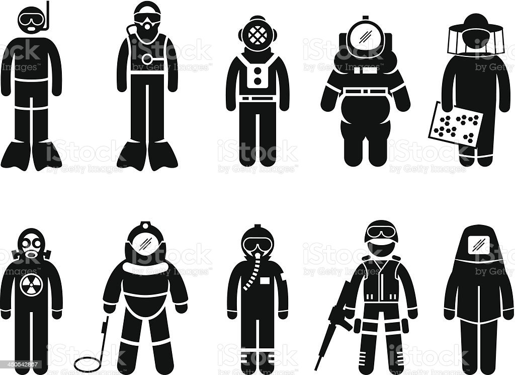 Combinaison de protection uniformes porter Pictogram équipement - Illustration vectorielle