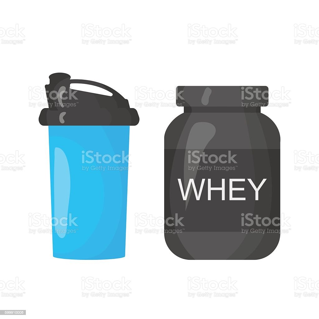 Protein and shaker icon isolated on the white background vector art illustration