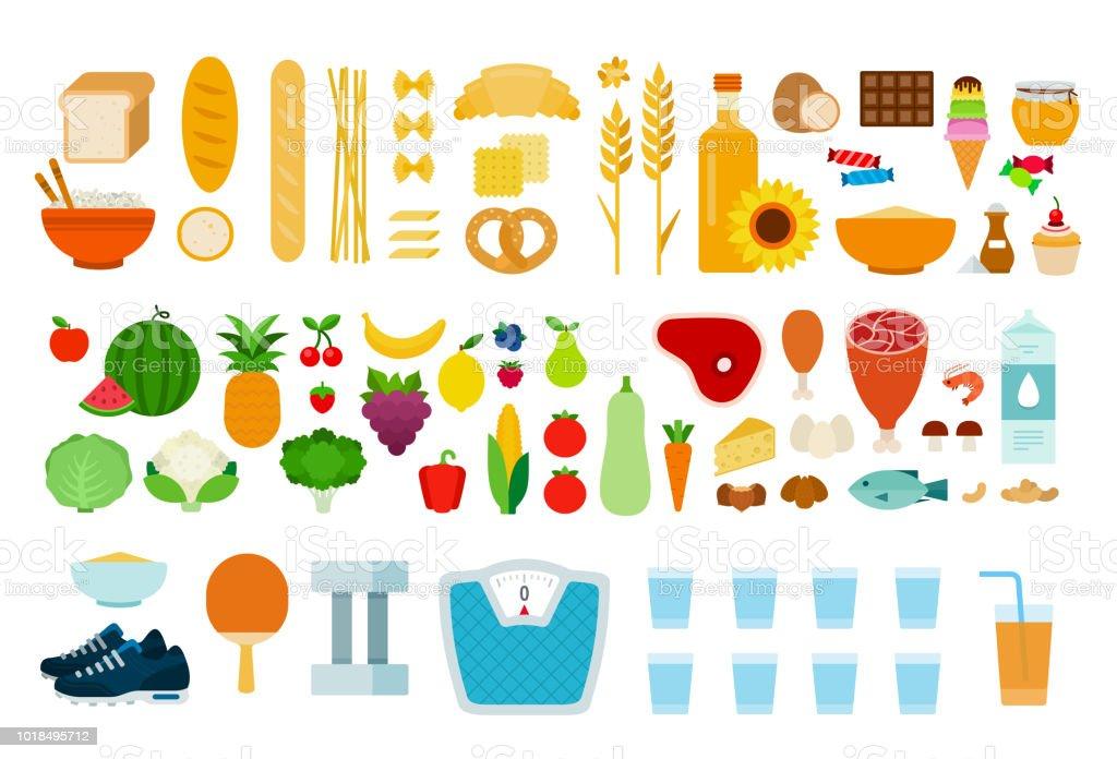 1e142f012 Vetor de Proteínas Produtos De Carboidrato Legumes Frutas Produtos ...