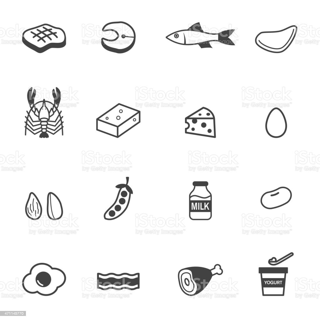 protein food icons vector art illustration