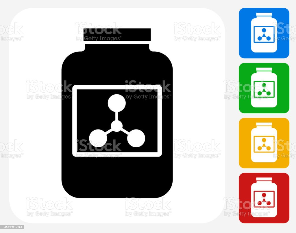 Protein Powder Icon Flat Graphic Design vector art illustration