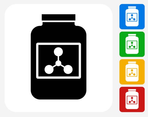Protein Powder Icon Flat Graphic Design Protein Powder Icon. This 100% royalty free vector illustration features the main icon pictured in black inside a white square. The alternative color options in blue, green, yellow and red are on the right of the icon and are arranged in a vertical column. amino acid stock illustrations