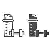 istock Protein shake and Dumbbell line and solid icon, Gym concept, Protein shaker sign on white background, Sport shaker bottle with dumbbell icon in outline style for mobile, web design. Vector graphics. 1280439098