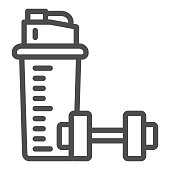 istock Protein shake and Dumbbell line icon, Gym concept, Protein shaker sign on white background, Sport shaker bottle with dumbbell icon in outline style for mobile, web design. Vector graphics. 1280436070