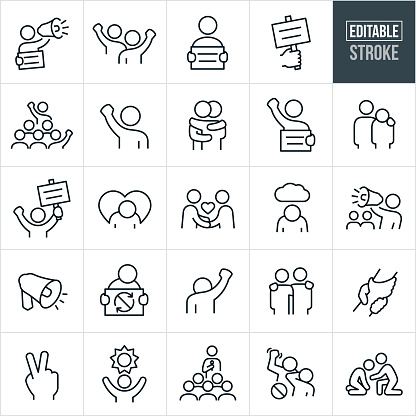 A set of protest and demonstration icons that include editable strokes or outlines using the EPS vector file. The icons include a protestor with sign and bullhorn, two protestors with fists raised, demonstrator holding a sign, demonstrator speaking to a crowd of demonstrators, two people hugging, person with arm around shoulder of a demonstrator, peaceful handshake between two people, depressed person, demonstrator with bullhorn and demonstrators in the background, hands clasped, hope and change concepts, person giving speech, banned violence and other related icons.