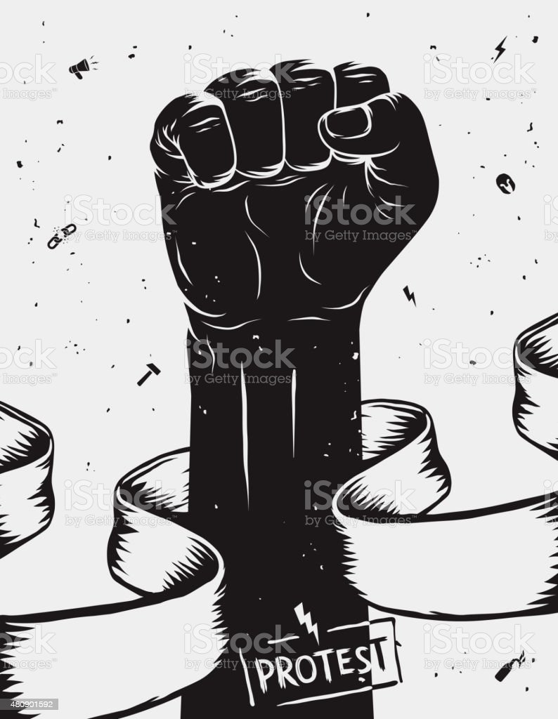 Protest background, raised fist held in protest. Vector illustration vector art illustration