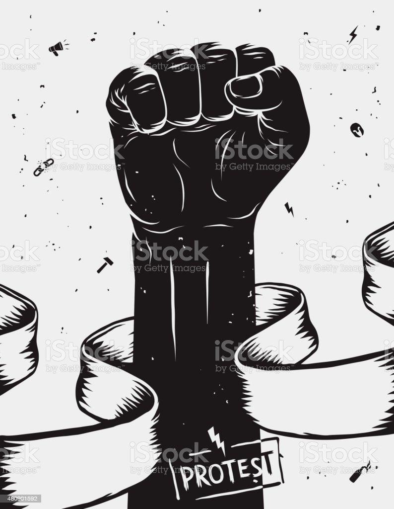 Protesto de fundo, abordado primeira realizado em protesto. TM - ilustração de arte em vetor