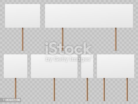 Protest banners. Blank white placard with wooden stick. Politic strike boards realistic vector holding public broadsheet template