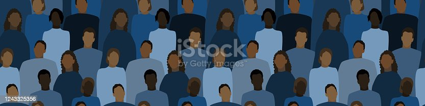 istock protest. Crowd of people protesting. Racial equality. Social issue. Flat vector illustration, dark seamless pattern 1243325356