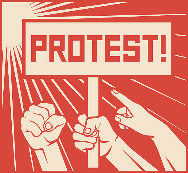 protest design - lots of furious people (demonstrations) vector art illustration
