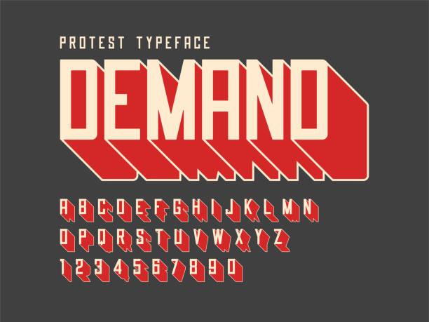 bildbanksillustrationer, clip art samt tecknat material och ikoner med protestera display font design, bokstäver, alfabetet, teckenuppsättning en - krig