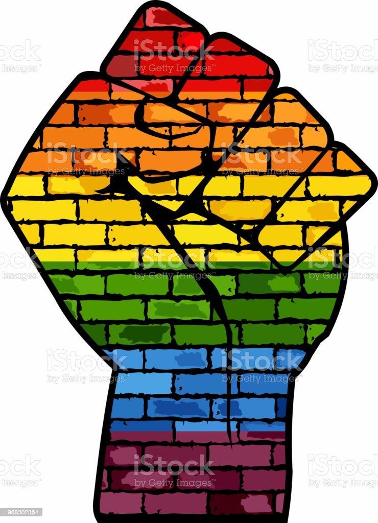 Puño de protesta LGBT - ilustración de arte vectorial