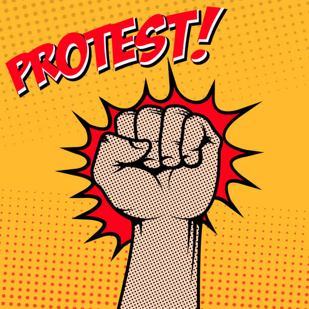 Protest! Human fist in pop art style. Vector illustration vector art illustration
