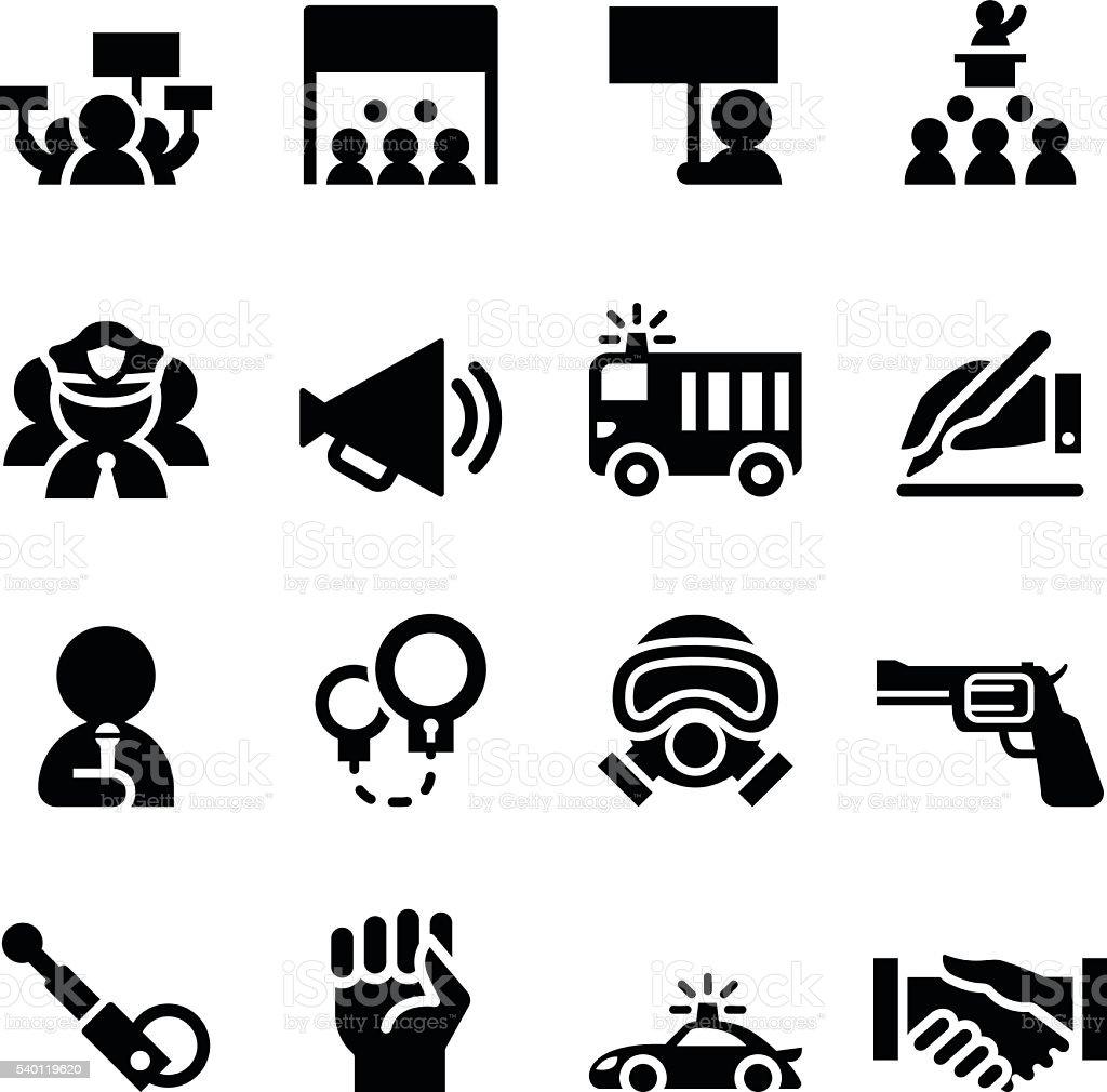 Protest icon set vector art illustration