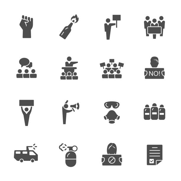 Protest icons Protest, human rights fighting, march vector icon set police meeting stock illustrations
