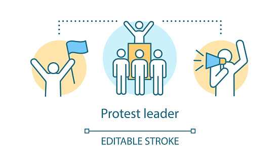 Protest leader concept icon. Public demonstration, social strike idea thin line illustration. Activist holding flag, crowd and protester with megaphone vector isolated outline drawing. Editable stroke