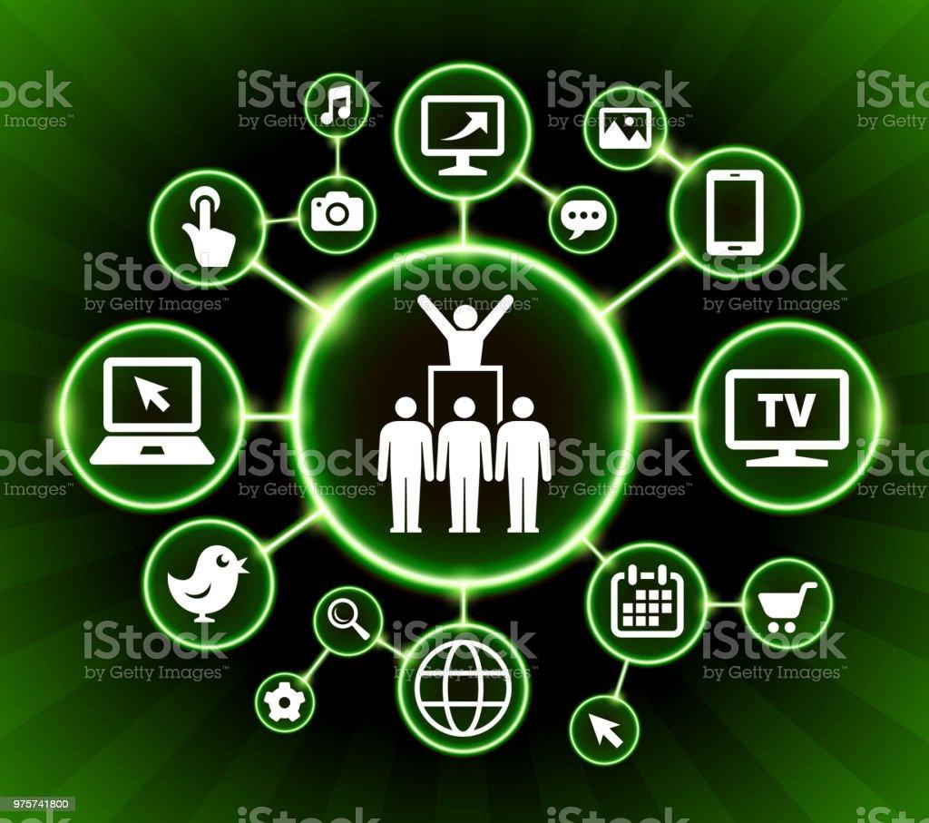 Protest & Leader-Internet-Kommunikations-Technologie dunklen Tasten-Hintergrund - Lizenzfrei Bildhintergrund Vektorgrafik