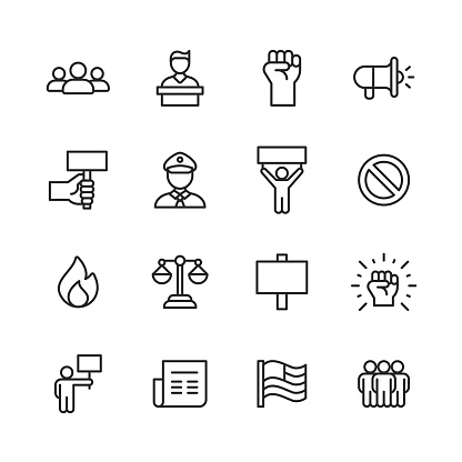 16 Protest Outline Icons. Crowd, Speech, Justice, Shouting, Power, Fist, Human Hand, Megaphone, Banner, Police, Law Enforcement, Warning Sign, Stop Sign, Fire, Law, Newspaper, Flag, People, Youth, Mask, Handcuffs, Pepper Spray, Gun, Violence, Location, Politics, Social Justice, Social Movement, Equality, Diversity, Government, Support, Freedom.