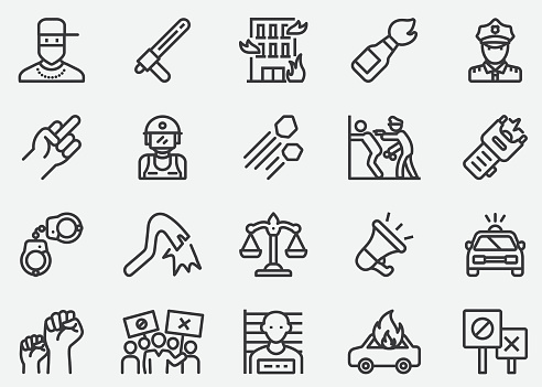 Protest Line Icons