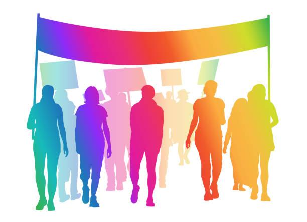 ilustrações de stock, clip art, desenhos animados e ícones de protest mob rainbow - greve