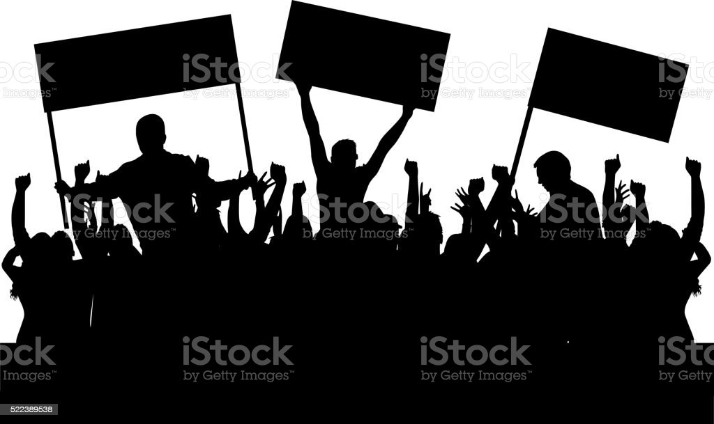 Protest people crowd silhouette. vector art illustration