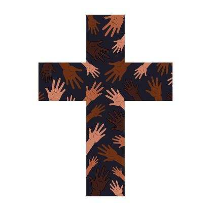 protest poster for social media. Christian unity cross.Christian Cross.multiracial cross,multiracial emblem sign.cross isolated.symbol, sign tolerance. logo protest banner BIPOC