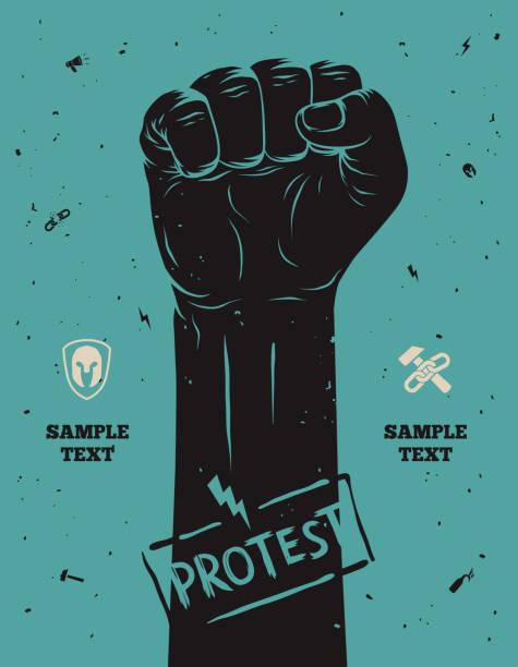 Demonstration poster, erhöhte Faust in-protest veranstalteten – Vektorgrafik
