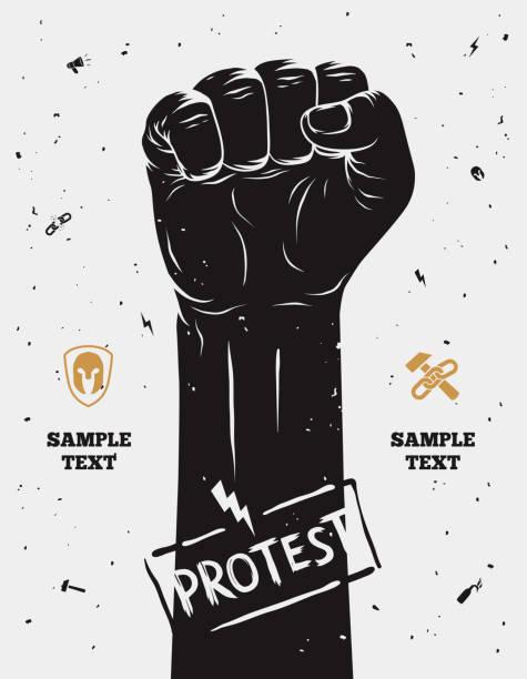 Demonstration poster, erhöhte Faust in-protest veranstalteten. Vektor-illustration – Vektorgrafik