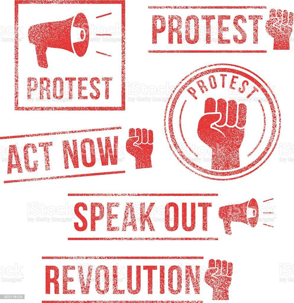 Protest, Revolution, Speak Out - rubber stamps vector art illustration