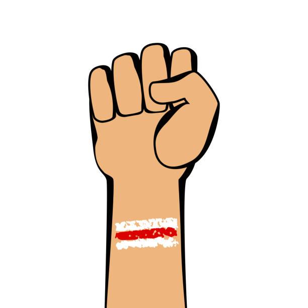 ilustraciones, imágenes clip art, dibujos animados e iconos de stock de señal de protesta con el puño en blanco. apoyo a los manifestantes en bielorrusia. - civil rights