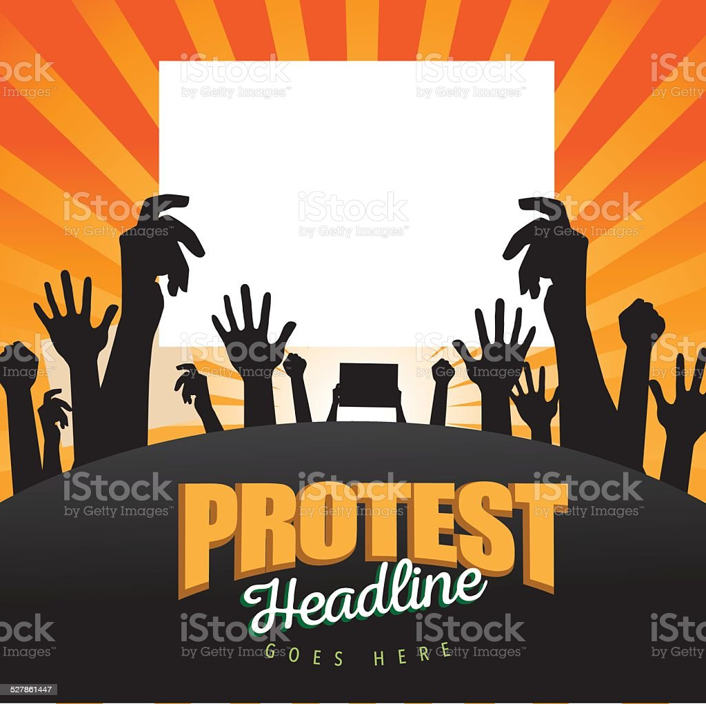 Protest signs silhouette burst background vector art illustration