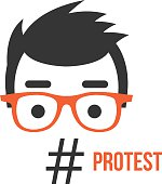 Protest, social network flashmob activity flat illustration concept