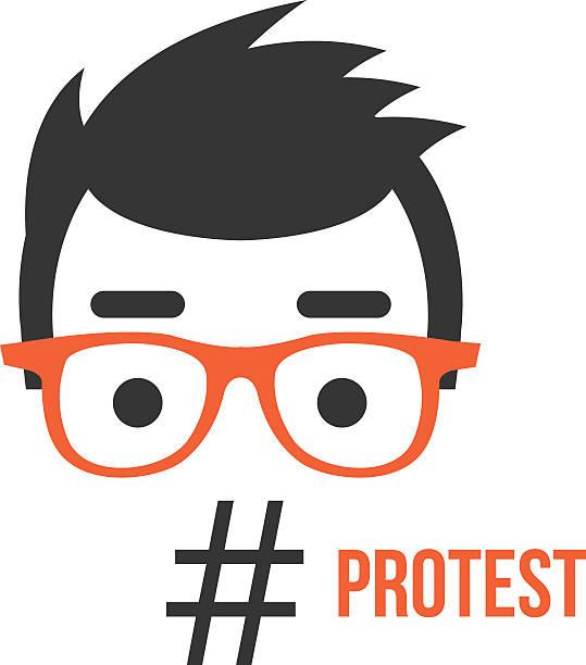 demonstration, soziale netzwerk-flashmob aktivität flache illustration konzept - nerd stock-grafiken, -clipart, -cartoons und -symbole