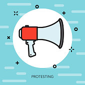 Protest Thin Line Election Icon