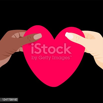 Black Lives Matter. Vector Illustration with heart in african and white woman hands. Protest against racism and social inequality, we are all together concept. For social media, web, banner, tag.
